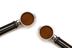 Two espresso coffee machine pistons Royalty Free Stock Images