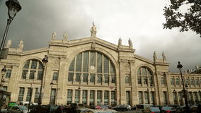 Two establishing shots of the train station Gare Du Nord. stock footage