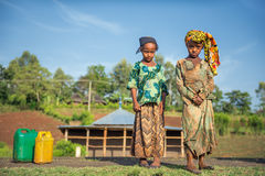 Two ethiopian girls going for water near Addis Ababa, Ethiopia Royalty Free Stock Images