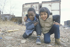 Two ethnic boys in the ghetto, Royalty Free Stock Photos