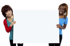Two ethnic female models presenting whiteboard Royalty Free Stock Photography