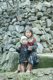 Two Ethnic minority children at Lung Cam village Royalty Free Stock Image