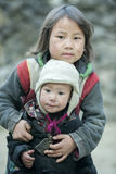 Two Ethnic minority children at Lung Cam village Royalty Free Stock Images
