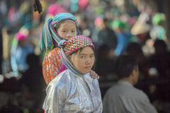 Two Ethnic minority girl at old Dong Van market Stock Photo