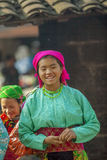 Two Ethnic minority girl smiling, at old Dong Van market Stock Photo