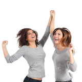 Two euphoric girls jumping Royalty Free Stock Photos