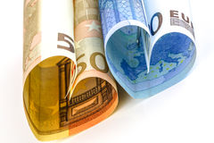 Two euro bill in the form of a heart Stock Photos