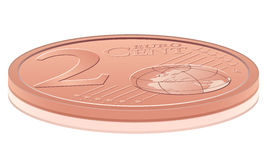 Two euro cent. Euro coin on white background Stock Photography