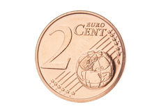 Two euro cent closeup Royalty Free Stock Photos