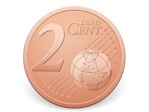 Two euro cent coin. On a white background Stock Photos