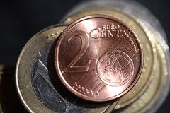 Two euro cents coins macro photography royalty free stock photography