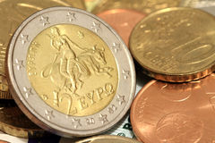 Two euro coin. Europe and the bull Stock Photography