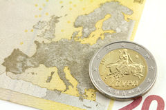Two euro coin. Europe and the bull Stock Photo