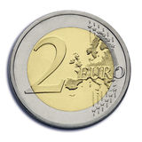 Two euro coin. With the europe map Royalty Free Stock Photography