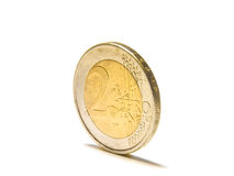 Two euro coin. In front of a white background/isolated Royalty Free Stock Image