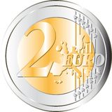 Two Euro coin. 2 Euro coin. Very High Resolution. Vector available Stock Images