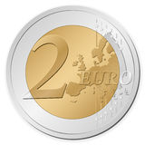 Two euro coin. Isolated on a white background. Vector illustration Royalty Free Stock Photo