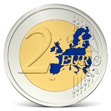 Two euro coin blue europe Royalty Free Stock Image
