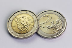Two Euro coin, commemorative of Carabinieri, Italy Stock Photography