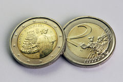 Two Euro coin, commemorative of Dante Alighieri, Italy Royalty Free Stock Image