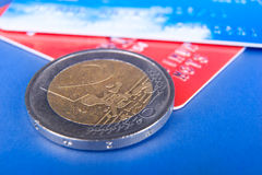Two euro coin and credit cards Stock Photo