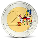 Two euro coin europe with flags Royalty Free Stock Photography