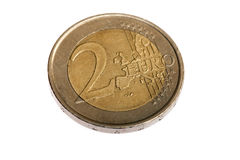 Two Euro coin, extreme macro shot. On white background Royalty Free Stock Photography