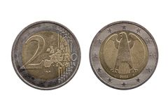 Two Euro coin of Germany. Dated 2002 which shows the German eagle on the reverse cut out and isolated on a white background stock image