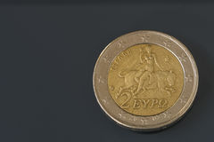 Two, 2 Euro coin from Greece, regular mint. Europa riding the bull Royalty Free Stock Photography