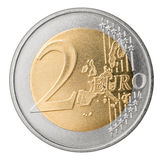 Two euro coin isolated. On white background finance currency symbol Royalty Free Stock Photos