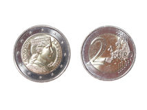 Two 2 euro coin money obverse reverse Latvian Republic new. Isolated Royalty Free Stock Photography