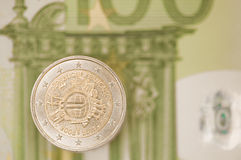 Two euro coin. Royalty Free Stock Photo