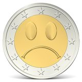 Two euro coin sad smiley Royalty Free Stock Photography