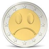 Two euro coin sad smiley. Two euro coin with sad smiley Royalty Free Stock Photography