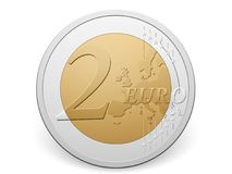Two euro coin. On a white background Royalty Free Stock Photo
