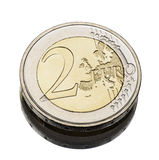 Two euro coin worn Royalty Free Stock Photo