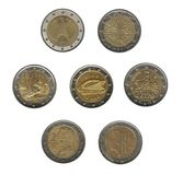 Two euro coins stock image