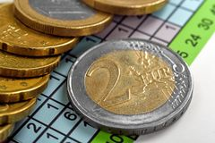Two euro coins Royalty Free Stock Photography