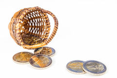 Two euro coins in wicker basket Stock Image