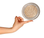 Two euro in hand Royalty Free Stock Photo