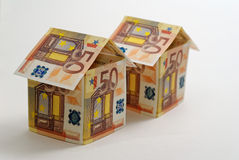 Two 50 euro Houses. Isolated on a white background Royalty Free Stock Photo