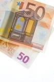 Two 50 Euro notes. Solated on white Stock Photos