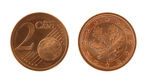 Two Eurocents Coin Stock Photography