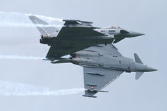 Two Eurofighters - Airobatics royalty free stock photography