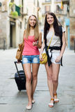 Two european students smiling on street Royalty Free Stock Photography