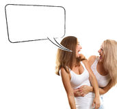 Two European Women With Speech Bubble Royalty Free Stock Photography