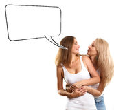 Two European Women With Speech Bubble Stock Photography