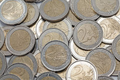 Two euros coins Stock Photo
