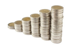 Two euros coins towers. A photo of some two euros coins with white background Stock Photos