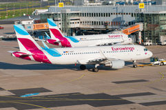 Two Eurowings Airbus 320 at Duesseldorf airport Royalty Free Stock Image